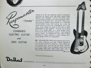 Page from the Dallas catalogue showing the Rangemaster Twin neck electric guitar.