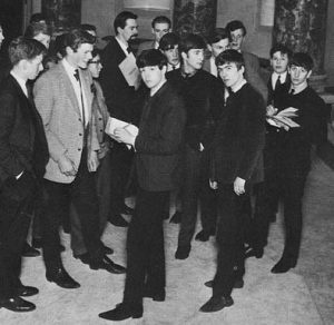 The Beatles meet their fans (including Guy Mackenzie), Roxburgh Hall, Stowe School 1963