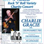 Poster for charity concert featuring Charlie Gracie