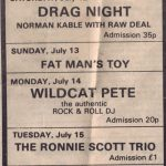 A newspaper advert for the band Fat Man's Toy