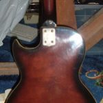 Back of the body of an unknown Les Paul-style electric guitar