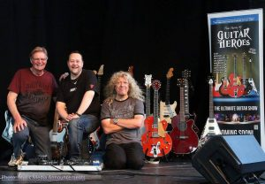 "Phil Walker of ""Guitar Heroes...the Ultimate Guitar Show"" with Lars Mullen and Guy Mackenzie."