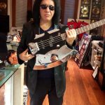 Gene Simmons with a copy of the Spector bass replica